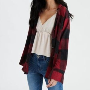 American Eagle plaid oversized button up shirt